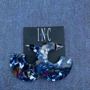 INC Blue Tortoise-Look Hoop Earrings